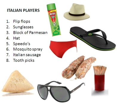 Italian players bag