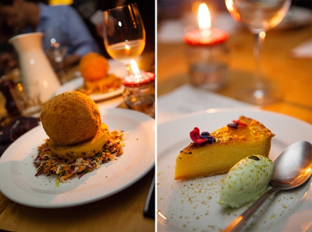 Chicken kiev & Tart au citron with pistachio ice-cream